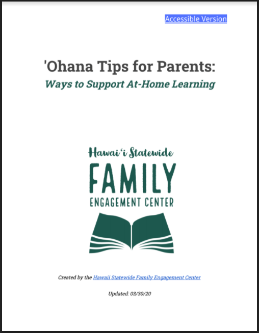 'Ohana Tips for Parents: Ways to Support At-Home Learning Cover