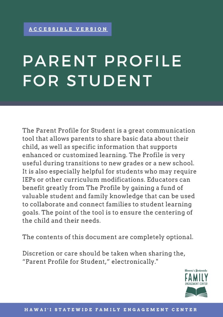 Cover Page of Parent Profile for Student