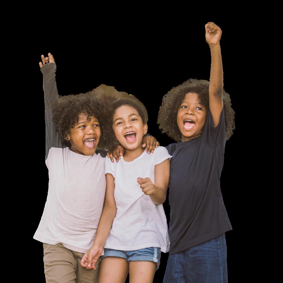 Three kids cheering.