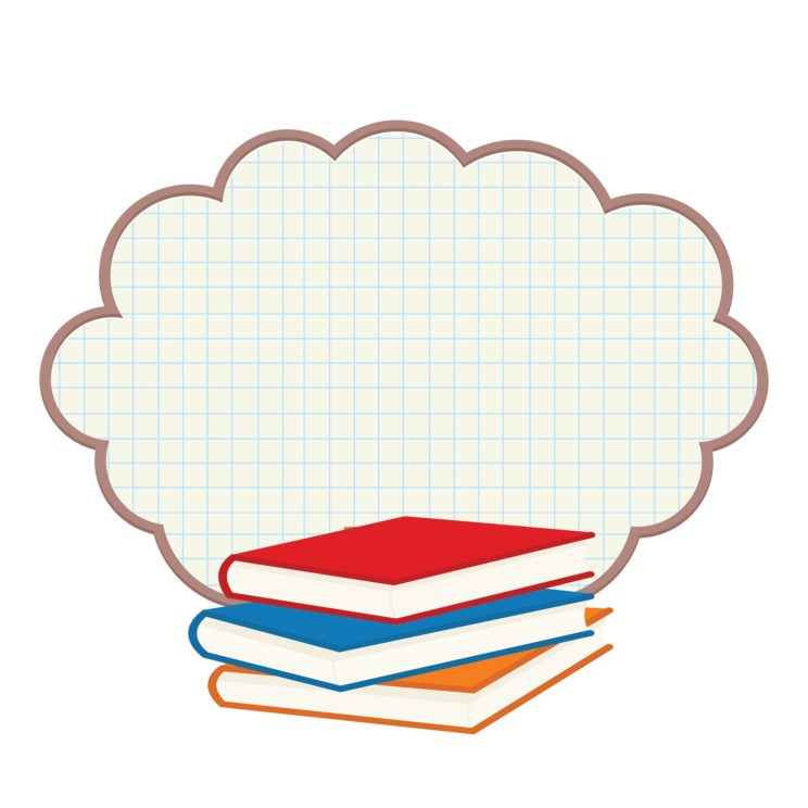 Drawing of a stack of books with a graph paper cloud behind the books.