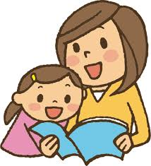 Woman reading a book with a young child