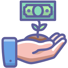 Hand holding soil with a dollar bill growing out of the soil, and two small leaves.