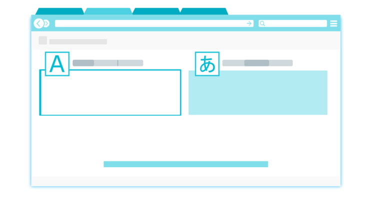 Clip art of online browser going from the English language to Japanese.
