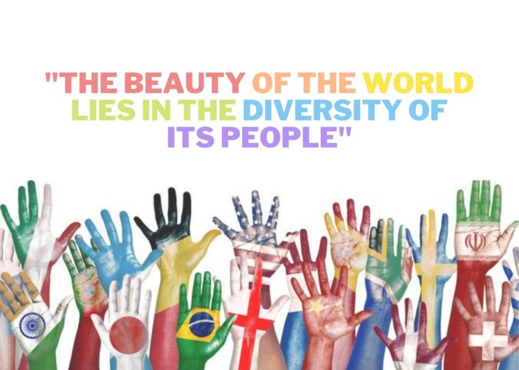 Hands in the air painted with flags from around the world. Text: The beauty of the world lies in the diversity of its people.