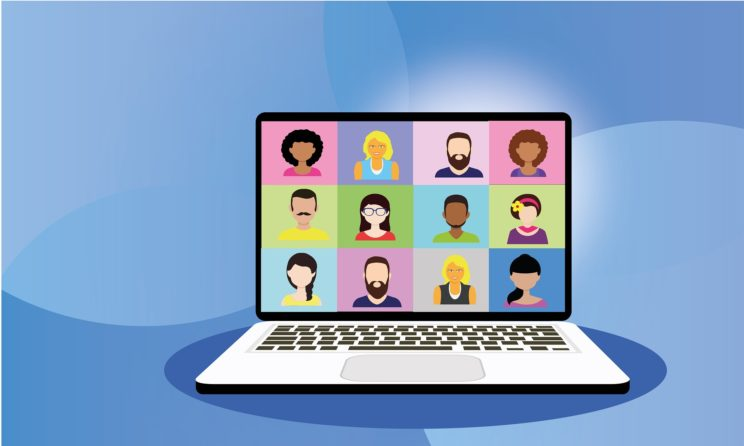 Cartoon of video conference where 12 squares with each participant's face are shown on a laptop.