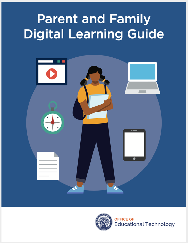 'Parent and Family Digital Learning Guide' girl holding notebook surrounded by learning tools