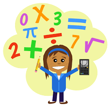 Young girl holding a calculator in one hand and a pencil in the other, surrounded by numbers and math symbols