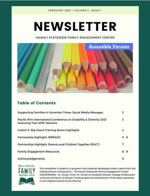 Newsletter Volume 2 – Issue 1