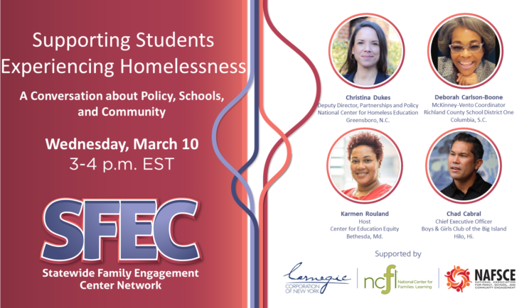 Flyer promotional for Supporting Students Experiencing Homelessness with a headshot photo of the four panelists from across the country.