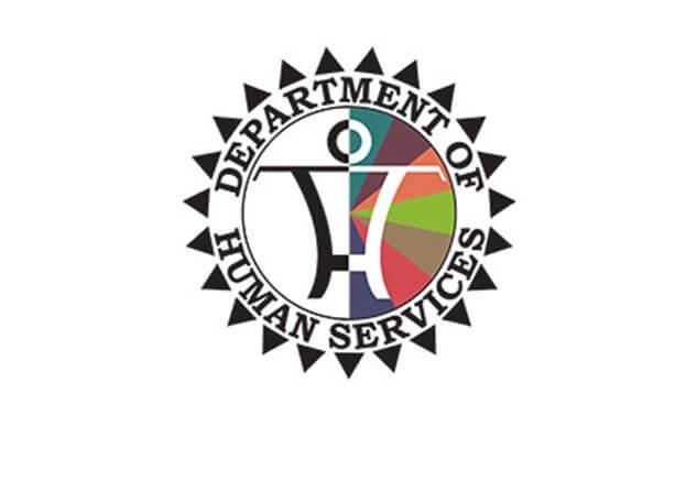 Department of Human Services Logo - Petroglyph of person inside a circle.