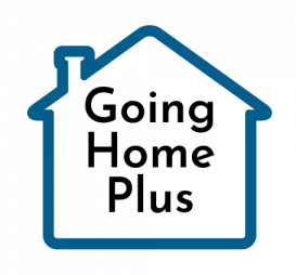 Going Home Plus Text inside the outline of a home