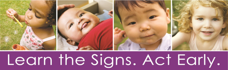 Four young children with text: Learn the Signs. Act Early.