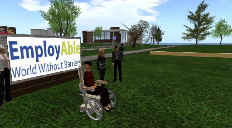 """Four people in Second Life in front of a sign saying """"employAble: world without barriers."""" One person is in a wheelchair."""