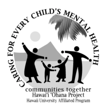 Caring for Every Child's Mental Health - Communities together Hawaii Ohana Project - University Affiliated Program. Parents and two kids with hands out in front of Diamond Head.
