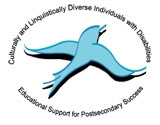 Culturally and linguistically diverse individuals with disabilities - Educational support for postsecondary success text with bird image - logo