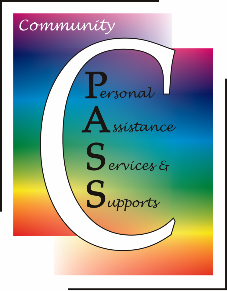 Community Personal Assistance Services and Supports with a rainbow background