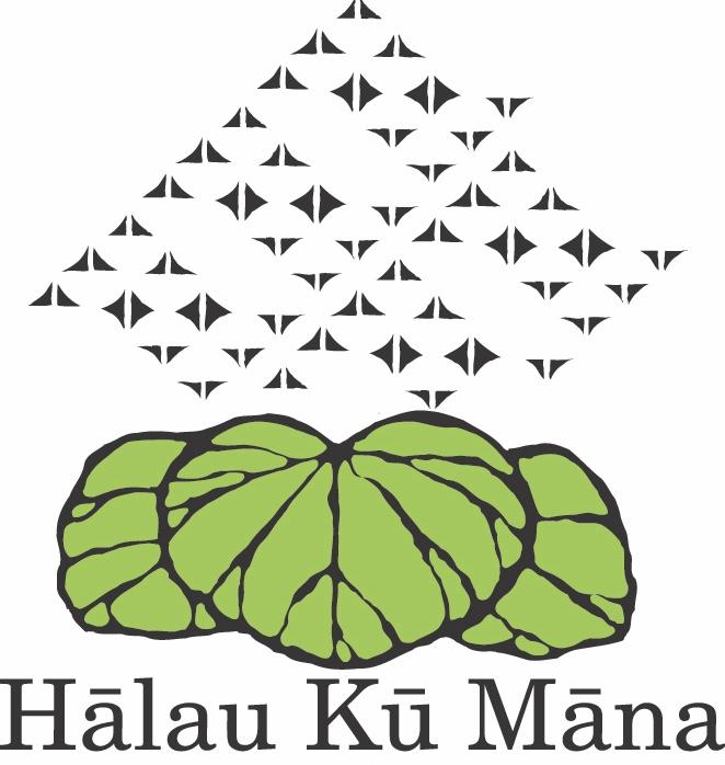 Halau Ku Mana Public Charter School for Native Hawaiians tribal graphics and taro leaves