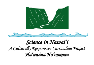 Mountain and ocean graphic with Science in Hawai'i A Culturally Responsive Curriculum Project Ha'awina Ho'opapau