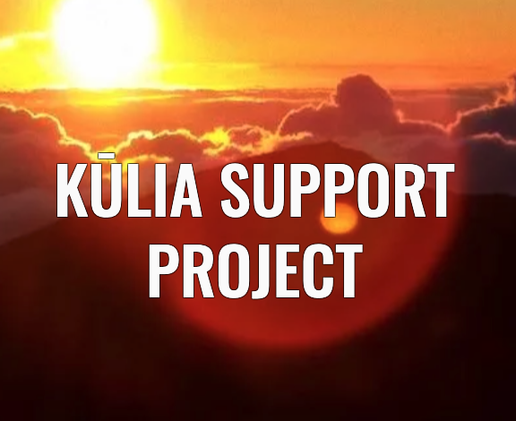 Kūlia Support Project with sunset background
