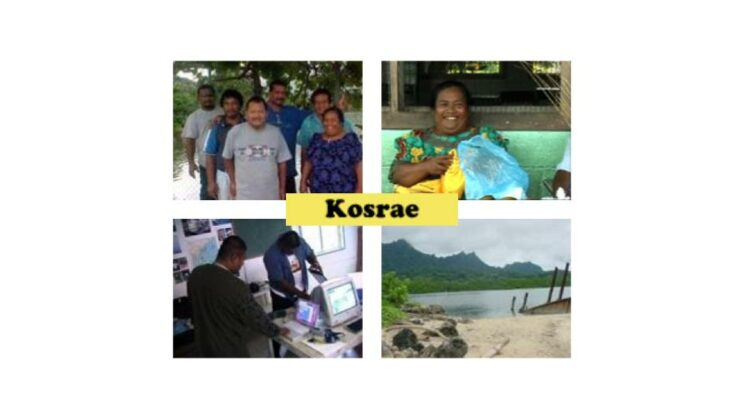 Four images from Kosrae including the team, a shoreline, a participant at the Utwe fair, and a couple people in a computer lab