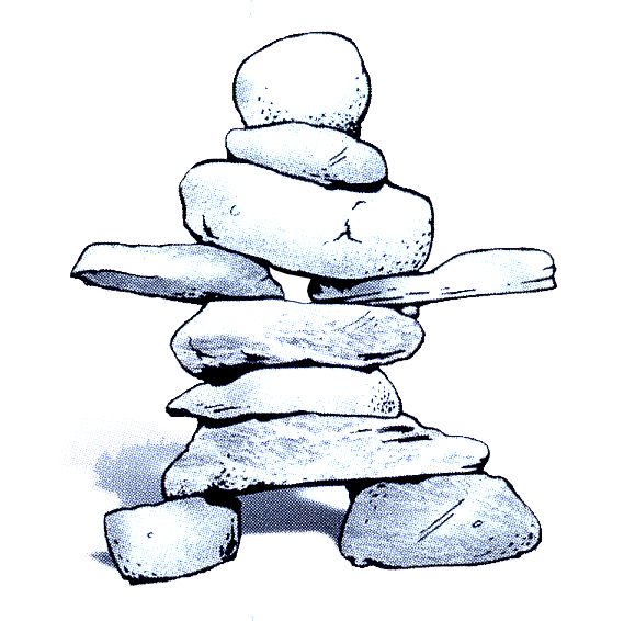 Stack of rocks in the shape of a person