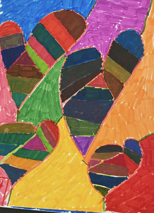 Abstract hearts using colored markers