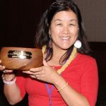 Mellanie Lee awarded a koa bowl.