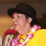 Madeline Harcourt with a lei.