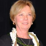 Norma Jean Stodden with a lei on.